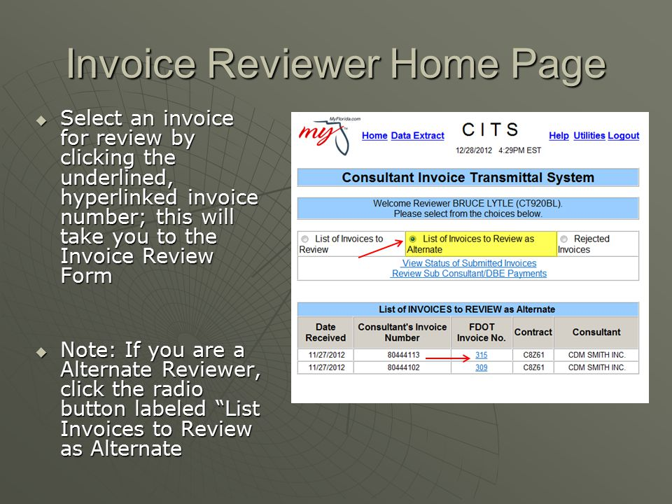 Invoice Reviewer Home Page