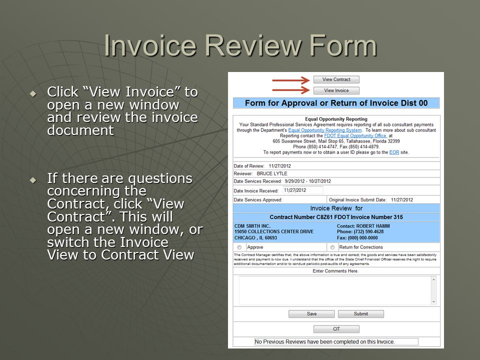 Invoice Review Form Click View Invoice to open a new window and review the invoice document.