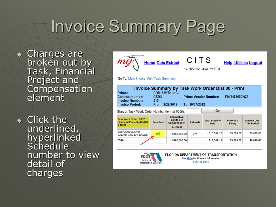 Invoice Summary Page Charges are broken out by Task, Financial Project and Compensation element.