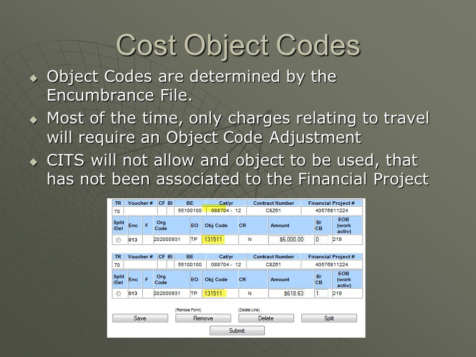 Cost Object Codes Object Codes are determined by the Encumbrance File.