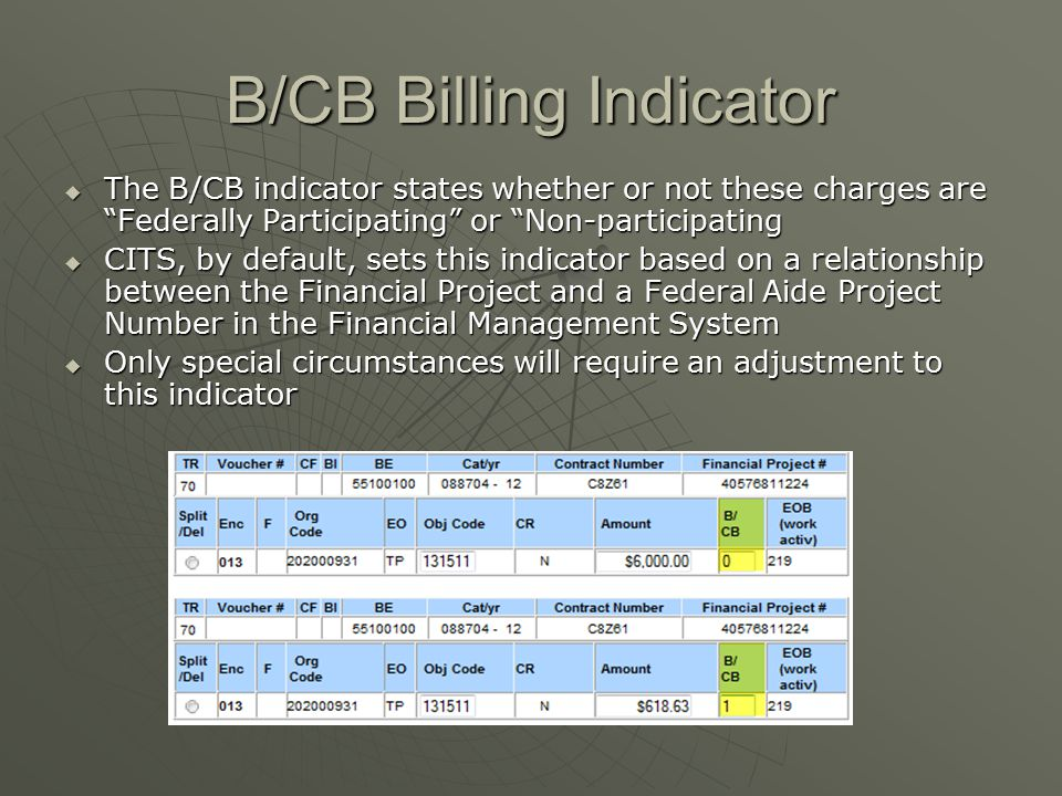 B/CB Billing Indicator