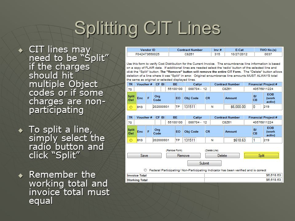 Splitting CIT Lines CIT lines may need to be Split if the charges should hit multiple Object codes or if some charges are non-participating.