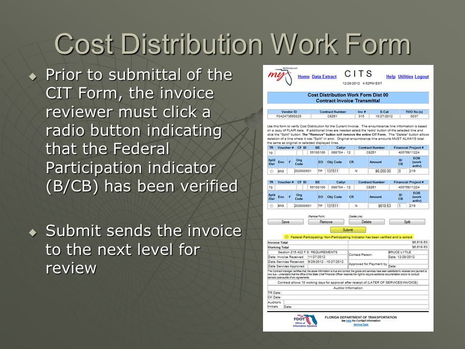 Cost Distribution Work Form