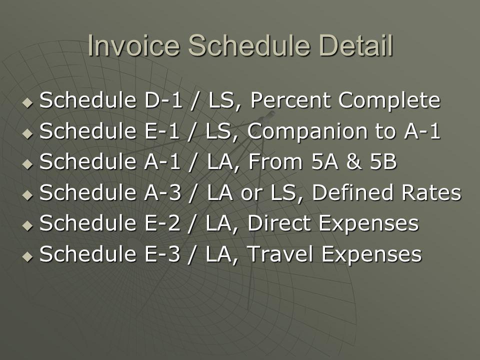 Invoice Schedule Detail