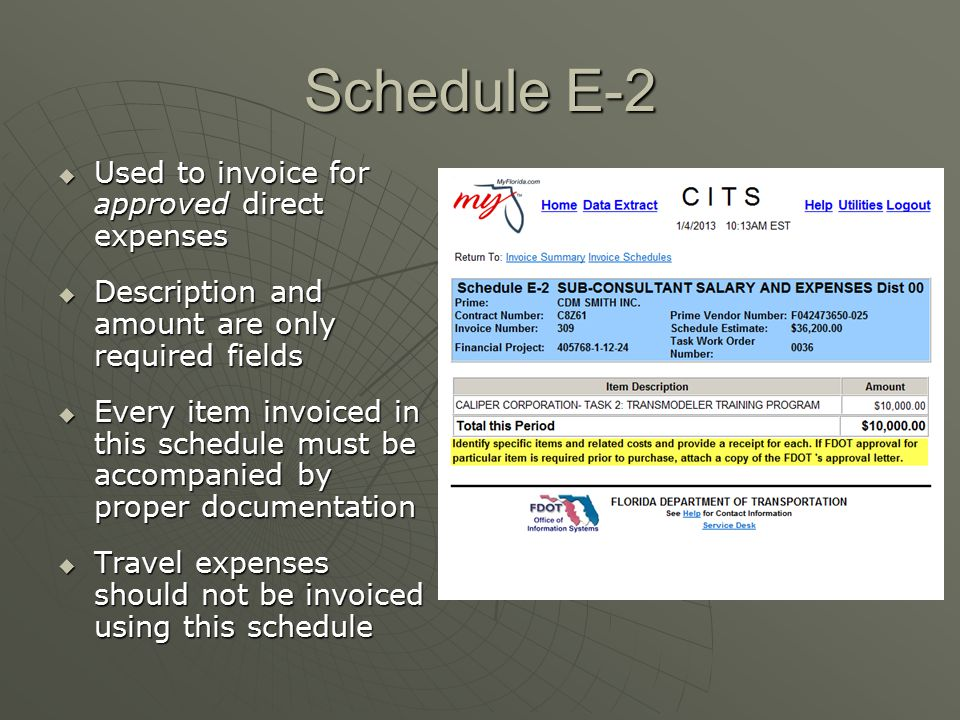 Schedule E-2 Used to invoice for approved direct expenses