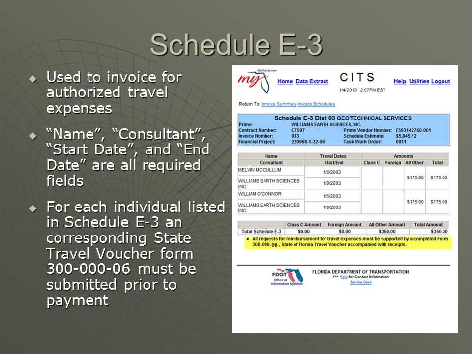 Schedule E-3 Used to invoice for authorized travel expenses