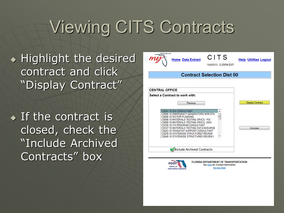 Viewing CITS Contracts