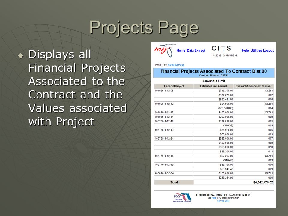 Projects Page Displays all Financial Projects Associated to the Contract and the Values associated with Project.