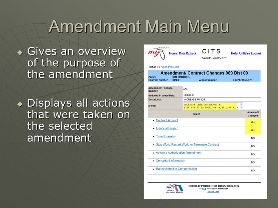 Amendment Main Menu Gives an overview of the purpose of the amendment