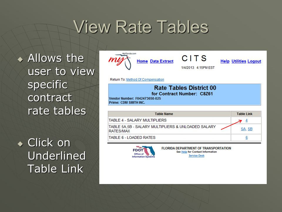 View Rate Tables Allows the user to view specific contract rate tables