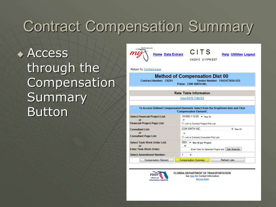 Contract Compensation Summary