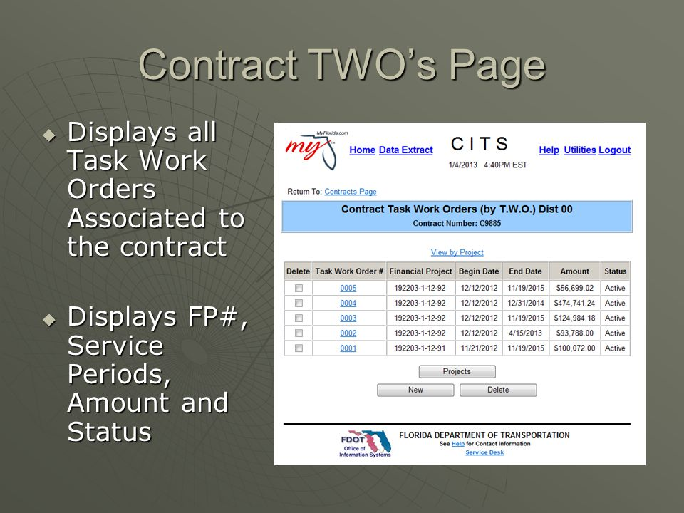 Contract TWO's Page Displays all Task Work Orders Associated to the contract.