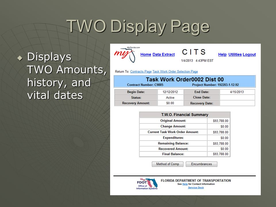 TWO Display Page Displays TWO Amounts, history, and vital dates