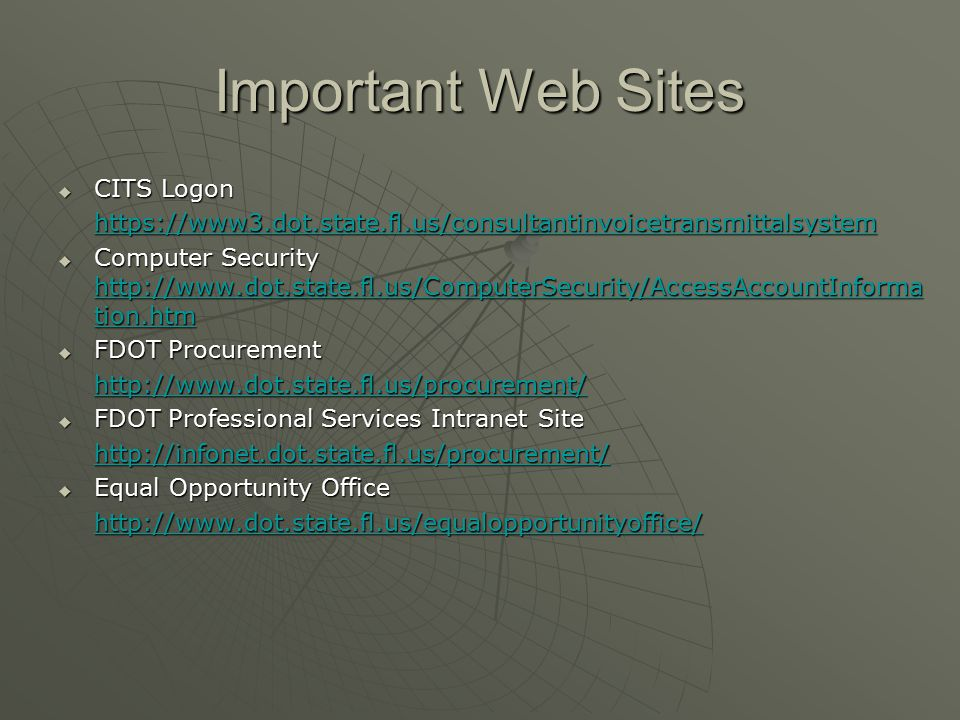 Important Web Sites CITS Logon