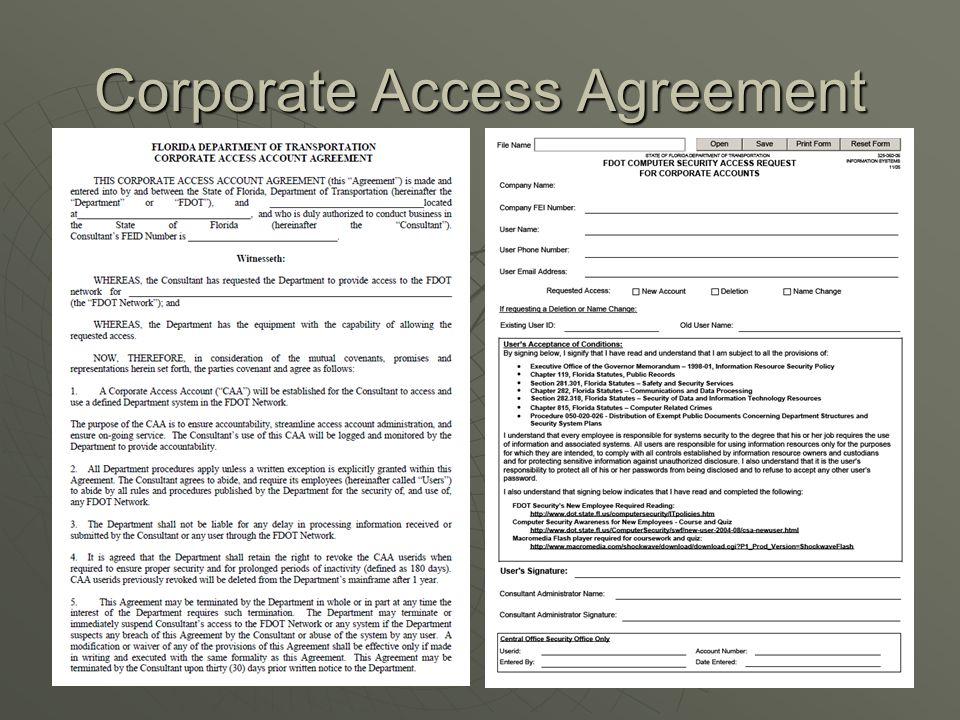 Corporate Access Agreement