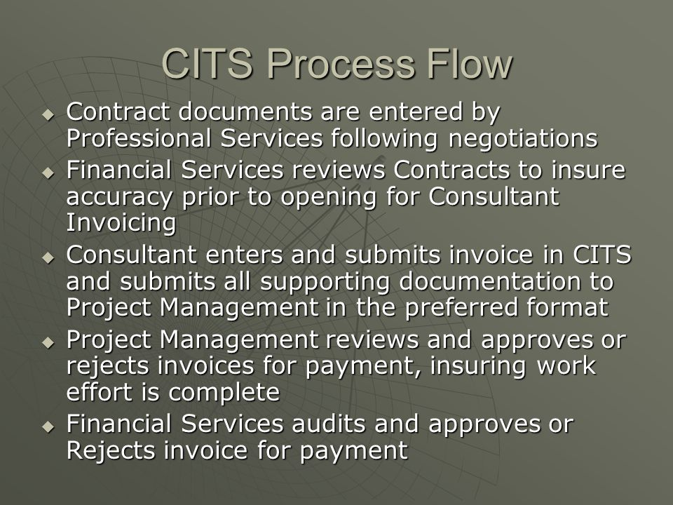 CITS Process Flow Contract documents are entered by Professional Services following negotiations.