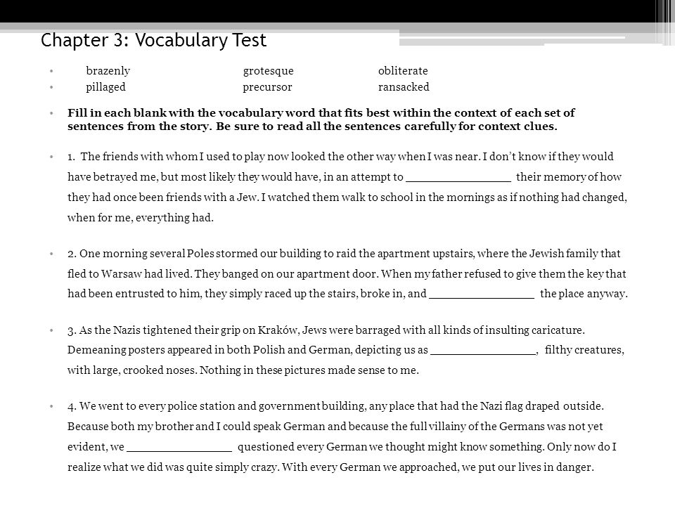 Chapter 3: Vocabulary Test