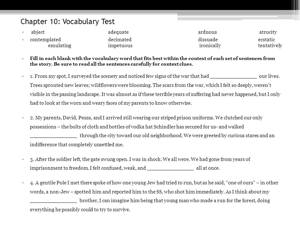 Chapter 10: Vocabulary Test