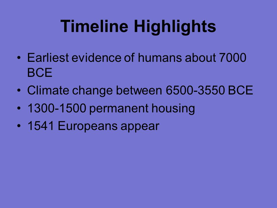 Timeline Highlights Earliest evidence of humans about 7000 BCE