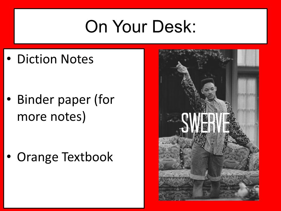 On Your Desk: Diction Notes Binder paper (for more notes)