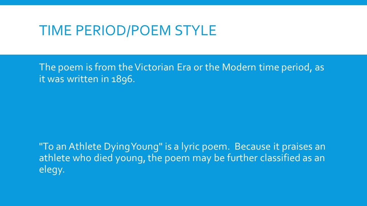 Time period/poem style