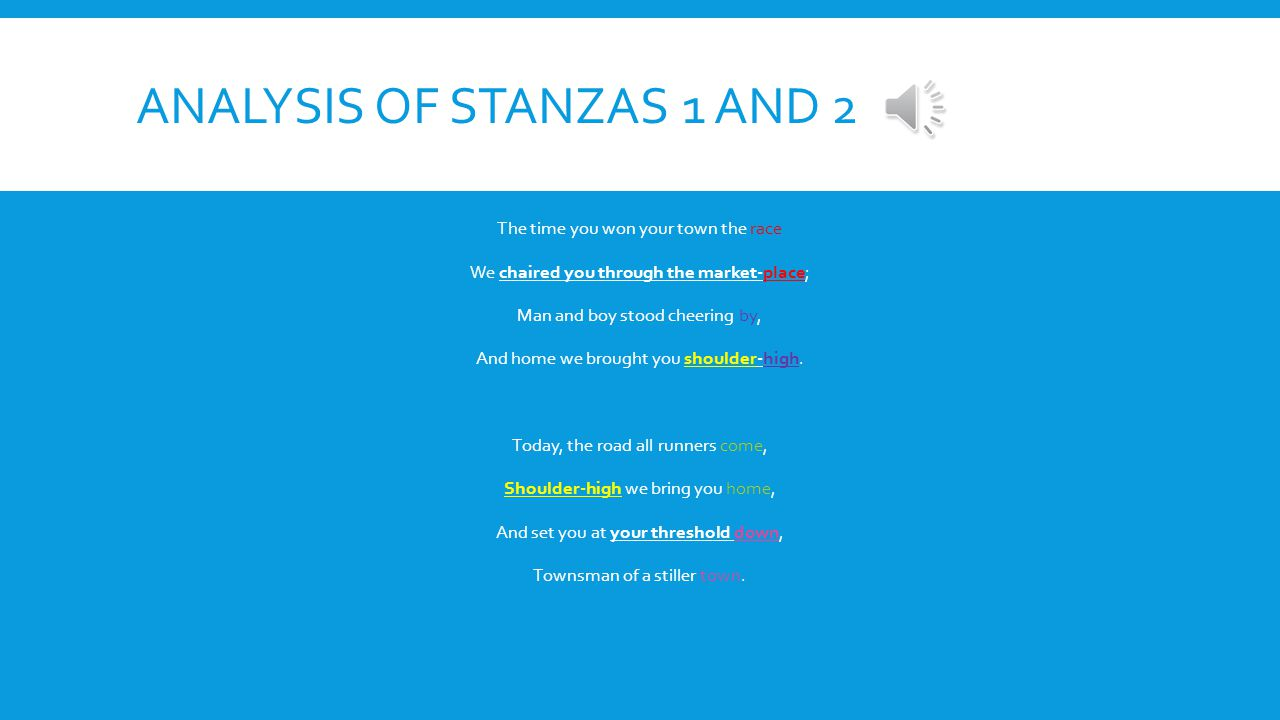 Analysis of stanzas 1 and 2