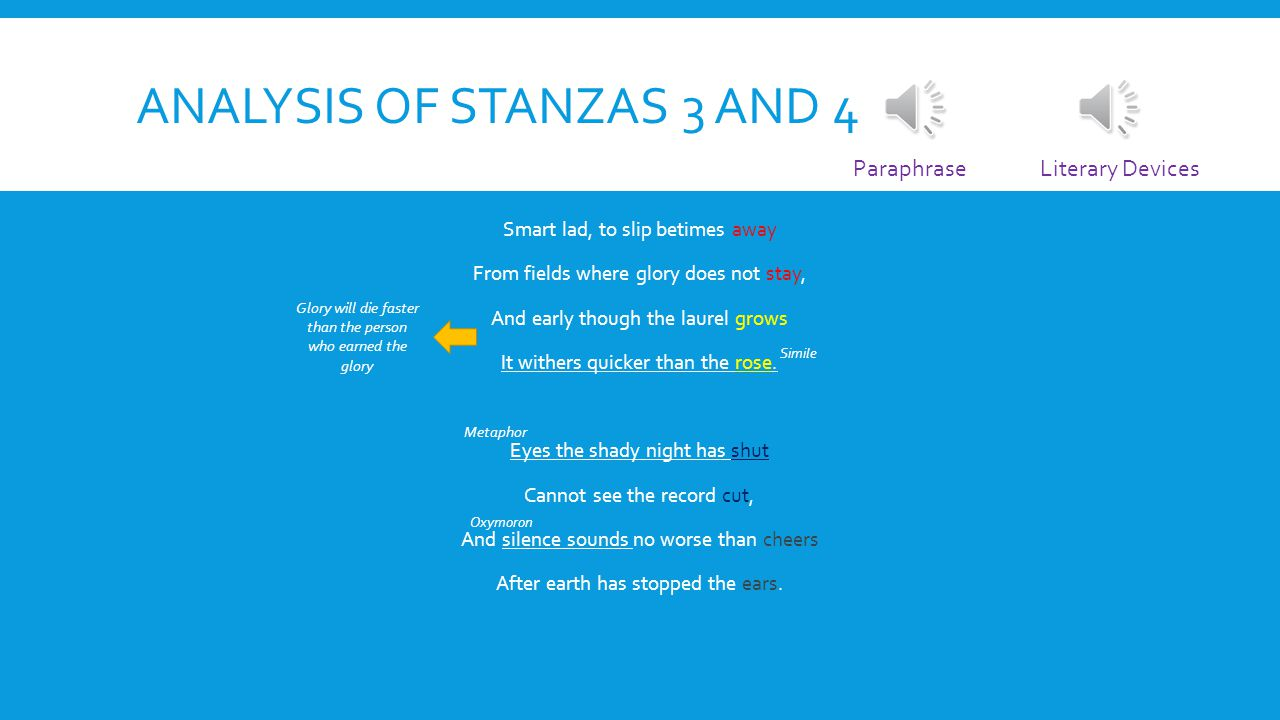 Analysis of stanzas 3 and 4