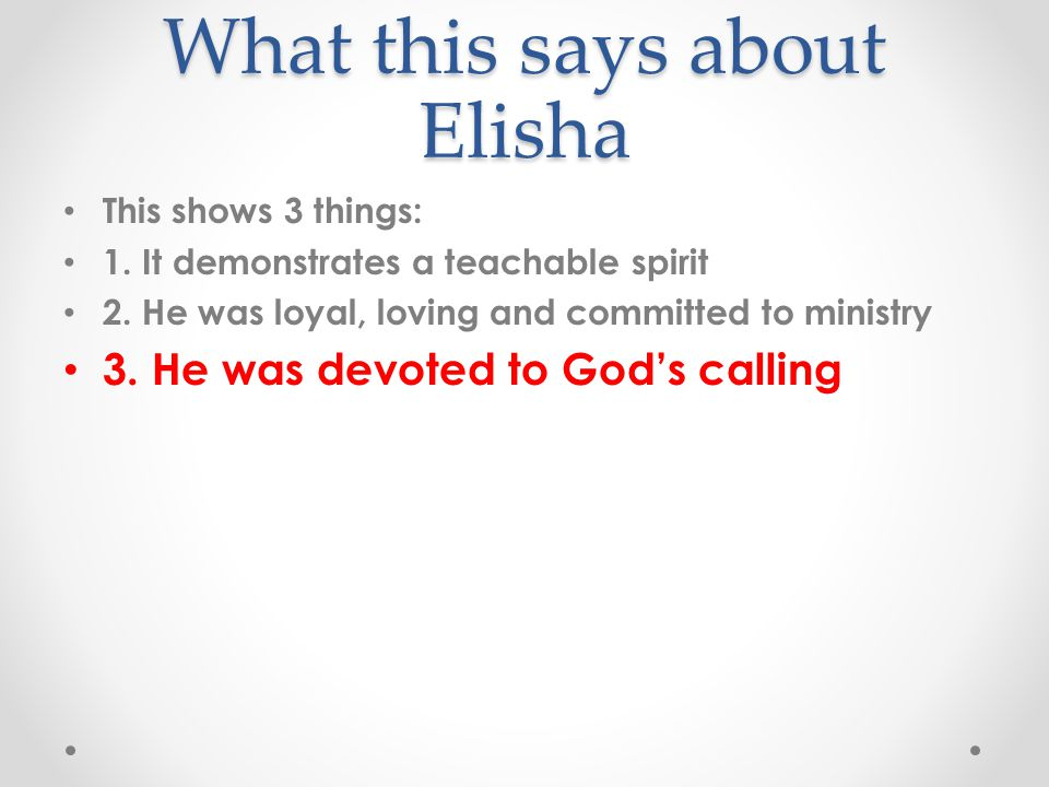What this says about Elisha