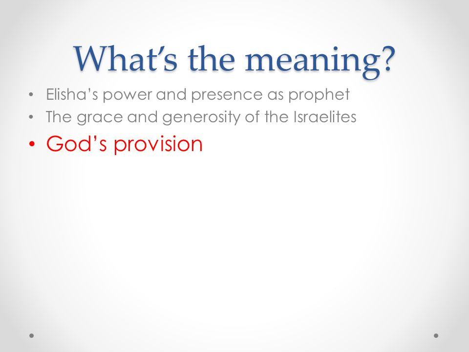 What's the meaning God's provision
