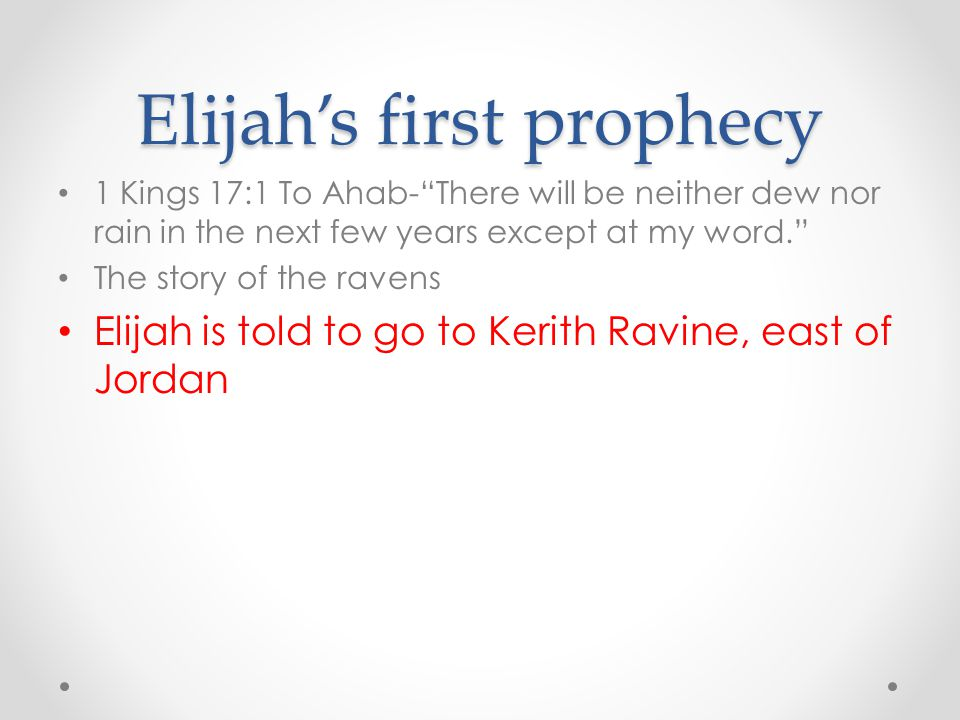 Elijah's first prophecy
