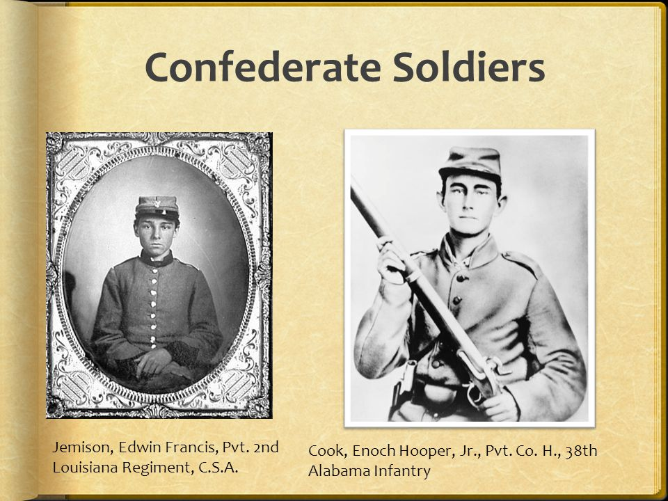 Confederate Soldiers Jemison, Edwin Francis, Pvt. 2nd Louisiana Regiment, C.S.A. Reproduction number: LC-B8184-10037 (copy photograph)