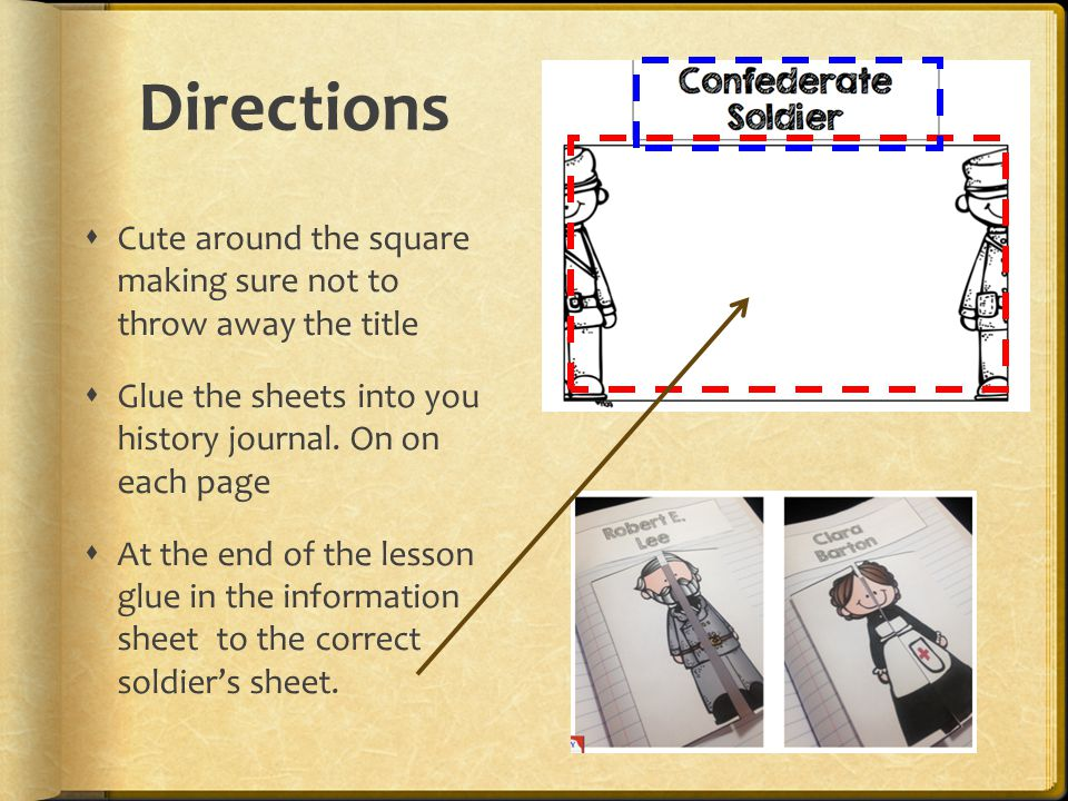 Directions Cute around the square making sure not to throw away the title. Glue the sheets into you history journal. On on each page.