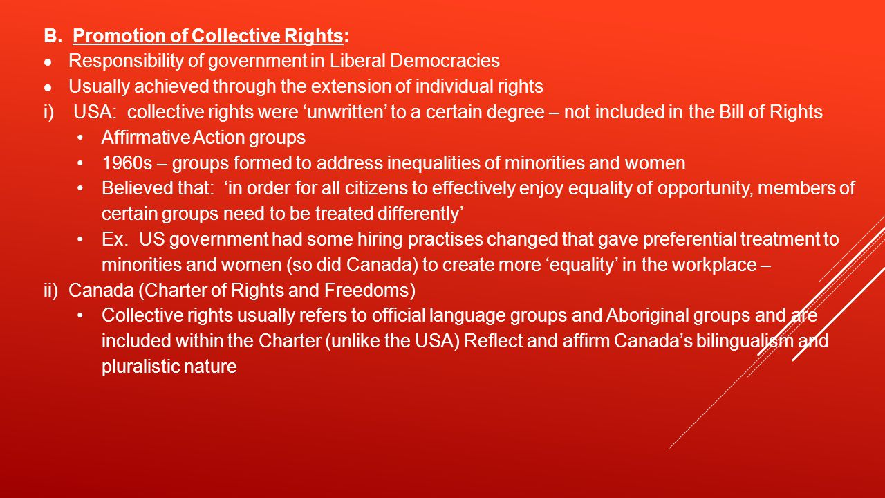 B. Promotion of Collective Rights: