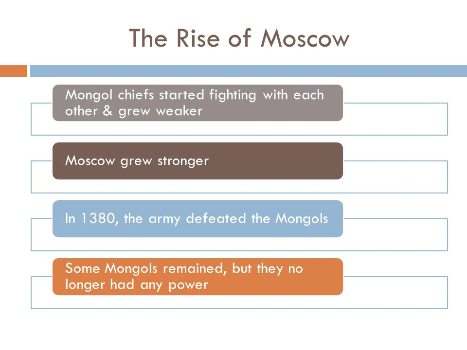 The Rise of Moscow Mongol chiefs started fighting with each other & grew weaker. Moscow grew stronger.