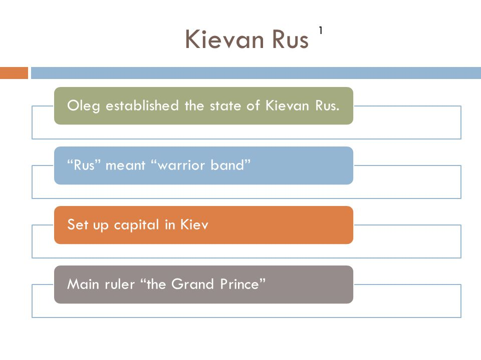 Kievan Rus Oleg established the state of Kievan Rus.