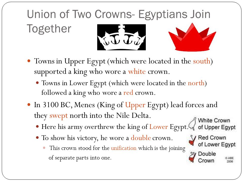 Union of Two Crowns- Egyptians Join Together