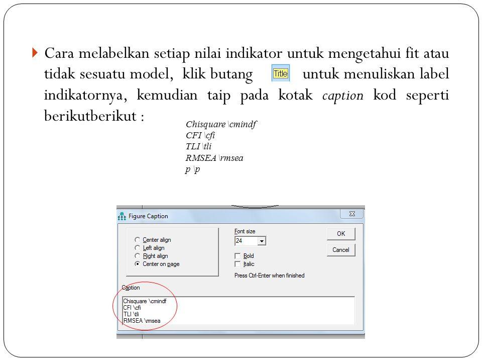 Cara melabelkan setiap nilai indikator untuk mengetahui fit atau tidak sesuatu model, klik butang untuk menuliskan label indikatornya, kemudian taip pada kotak caption kod seperti berikutberikut :
