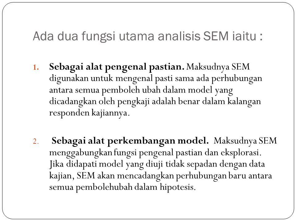 Ada dua fungsi utama analisis SEM iaitu :