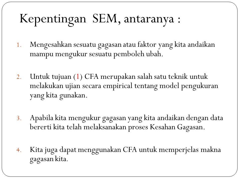 Kepentingan SEM, antaranya :
