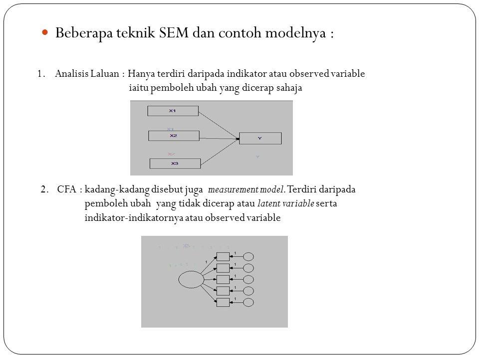 Beberapa teknik SEM dan contoh modelnya :