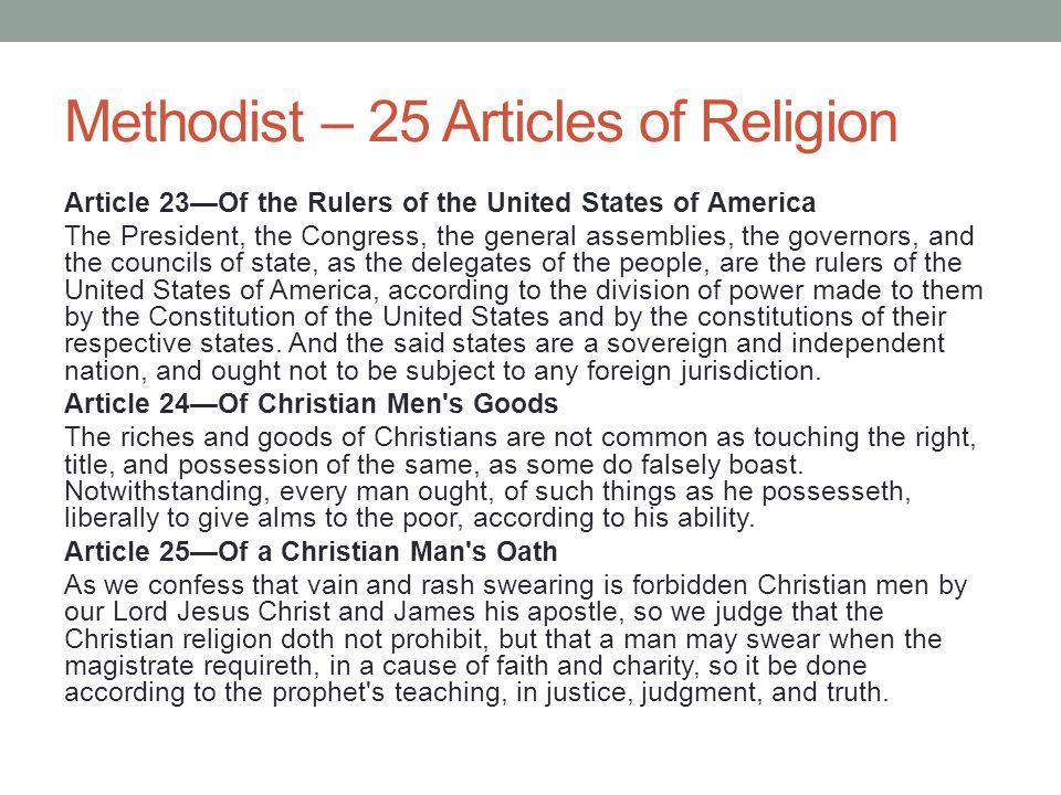 Methodist – 25 Articles of Religion