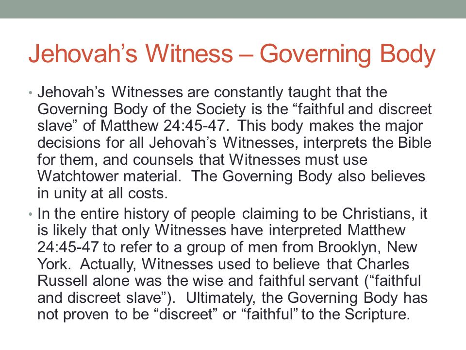 Jehovah's Witness – Governing Body