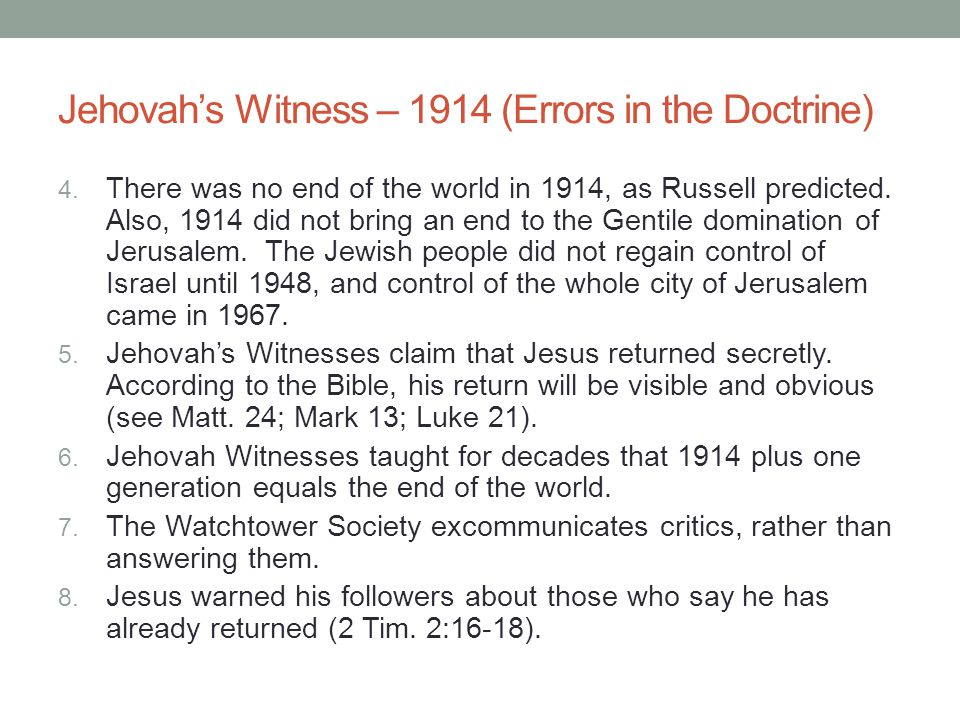 Jehovah's Witness – 1914 (Errors in the Doctrine)