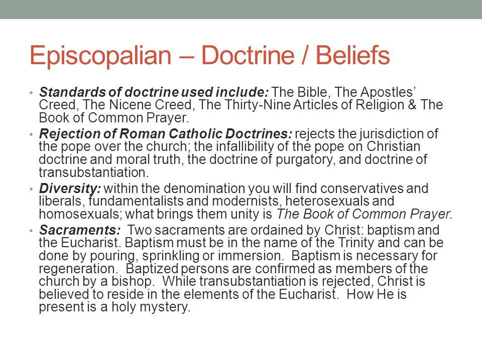 Episcopalian – Doctrine / Beliefs