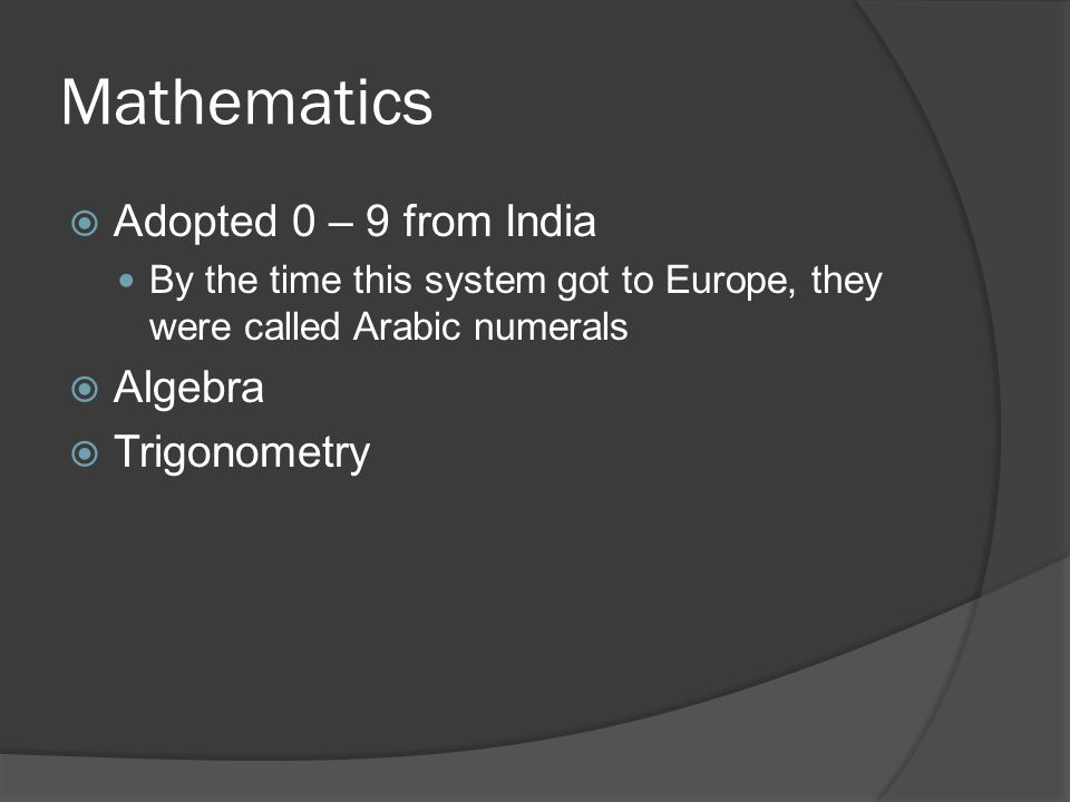 Mathematics Adopted 0 – 9 from India Algebra Trigonometry