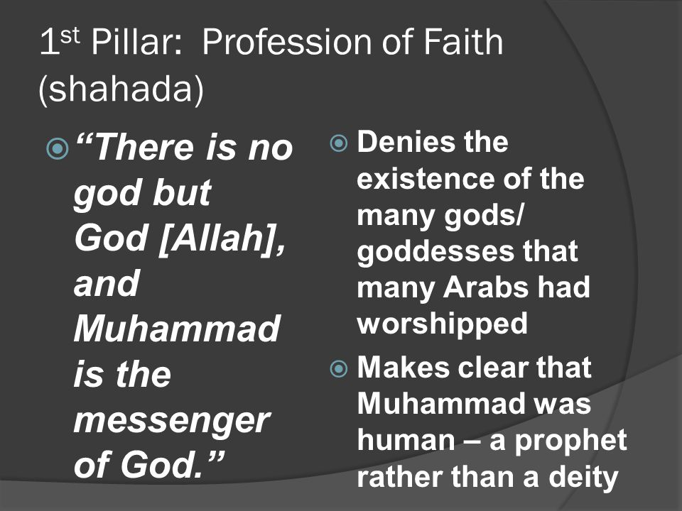 1st Pillar: Profession of Faith (shahada)