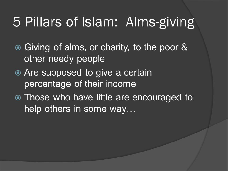 5 Pillars of Islam: Alms-giving
