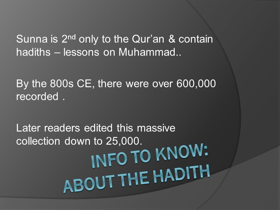 Info to know: about the hadith