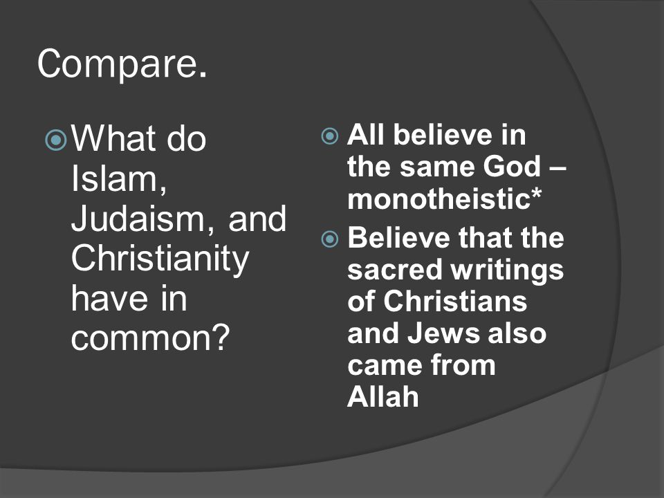 Compare. What do Islam, Judaism, and Christianity have in common