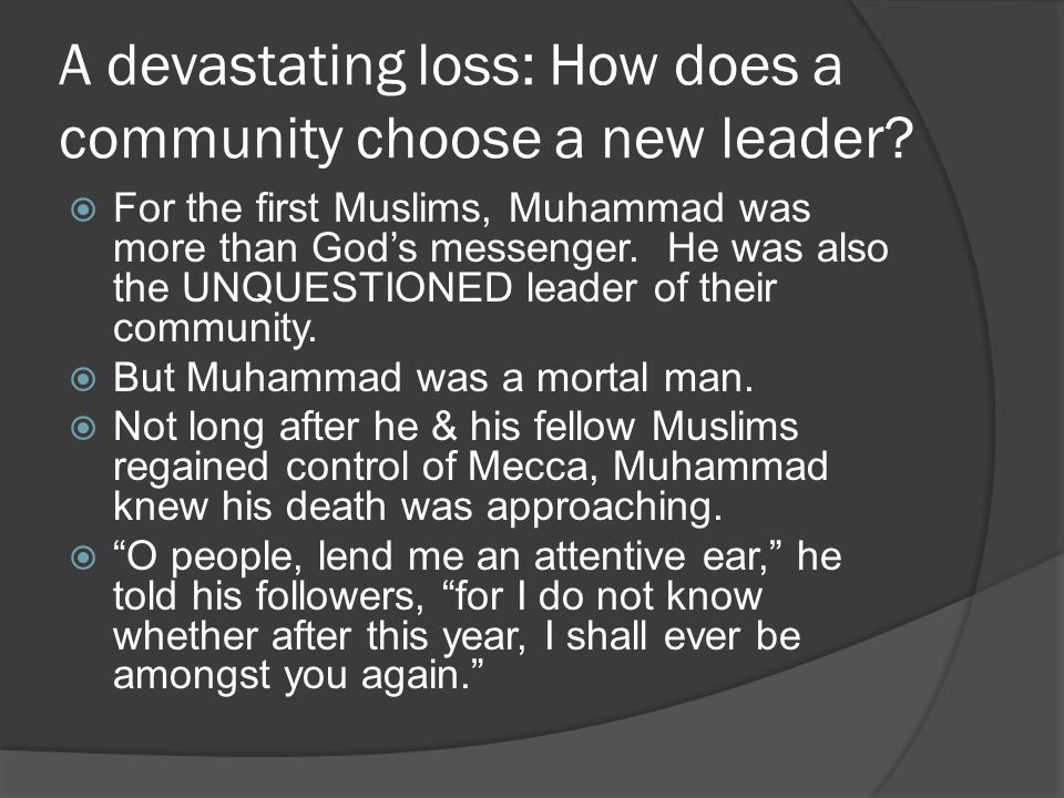 A devastating loss: How does a community choose a new leader